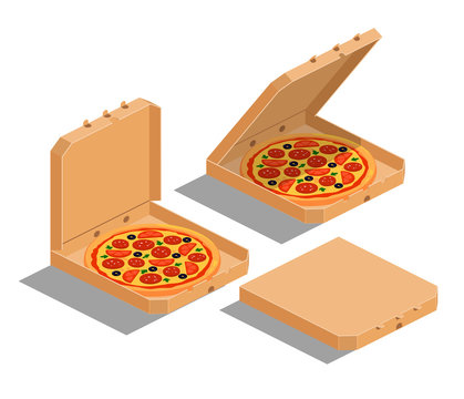 Isometric image of brown cardboard boxes with pizza: closed, open, ajar. Vector illustration set isolated on the white background.