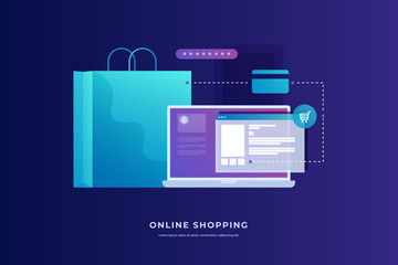 Concept of Internet payments, mobile purchases. Online shopping. Image of laptop with payment plan and package on blue background. Vector illustration.