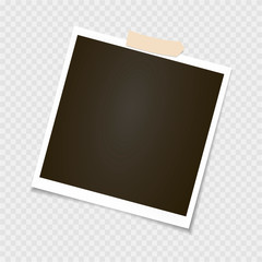 Photo frame. Polaroid frame, vector with adhesive tape, sticky tape. Template. Vector illustration