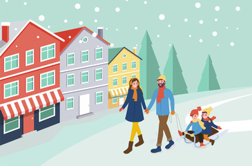 Mother and father pulling sledges with children vector. City with snowing weather, building of town with pine trees and snowfall. Family spending time