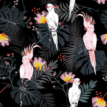 Dark  Tropical floral print. Parrot bird in the jungle and flowers in the exotic forest  allover design, seamless pattern vector for fashion ,wallpaoer and all prints