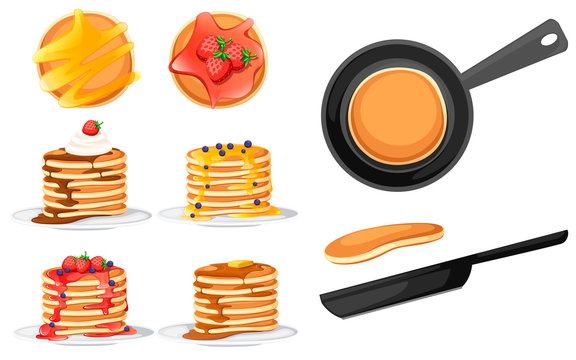 Set of four pancakes with different toppings. Pancakes on white plate. Baking with syrup or honey. Breakfast concept. Fluffy pancake in frying pan. Flat vector illustration on white background