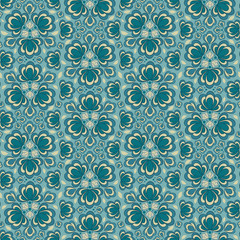 Seamless vector floral pattern with abstract flowers in monochrome blue colors. Vintage background in baroque style