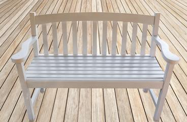 banc créole en bois blanc sur plancher bois brut
