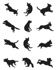 Black silhouettes of dogs in a jump on a white background