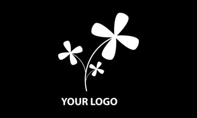Illustration of a logo with a white flower