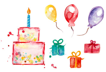 Happy Birthday set watercolor birthday cake, gift balloon, gifts, cake
