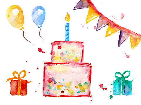 Set collection birthday watercolor with gifts, ball, cake, pastry, candle and pennant
