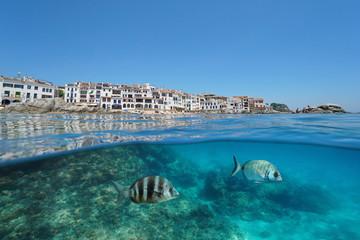 Spain Calella de Palafrugell village, coastline with fish underwater Mediterranean sea, Costa Brava, Catalonia, split view half over and under water