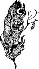 Illustration with stylized feather with deer, night sky, tree and dream catcher.
