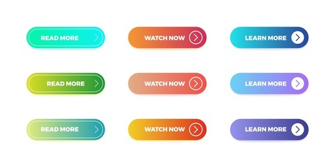 Gradient buttons. Web interface material button shape, bright gradient mobile app submit. Vector action ui buttons