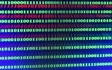 Green binary code on computer screen texture background