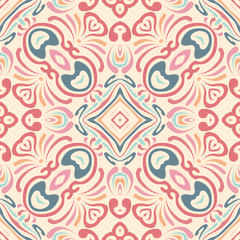 Flower motif, lines. Handmade mural . Detail for design wallpaper, tile, packaging, background. Light ethnic seamless ornament in arabic style. Light fabric, textiles.