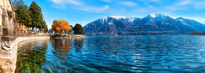 Boardwalk of Locarno with Panorama view at the Montains Wall mural