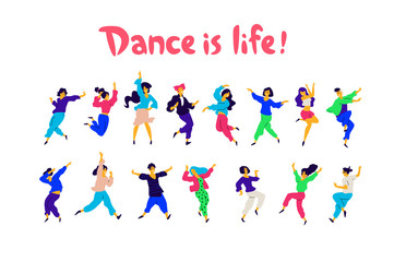 A group of dancing people in different poses and emotions. Illustrations of men and women. Flat style. A group of happy teenagers are dancing and having fun. Dance is life. Studio or dance school.