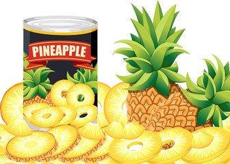 Pineapple in aluminum can. Canned sweet pineapple logo. Tinned pineapple rings. Product for supermarket and shop. Flat vector illustration on white background