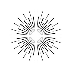 Sun rays hand drawn in vintage style. Linear design. Vector illustration.