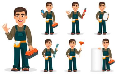 Fototapeta Professional plumber in uniform. obraz