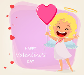 Valentines Day greeting card. Cartoon character