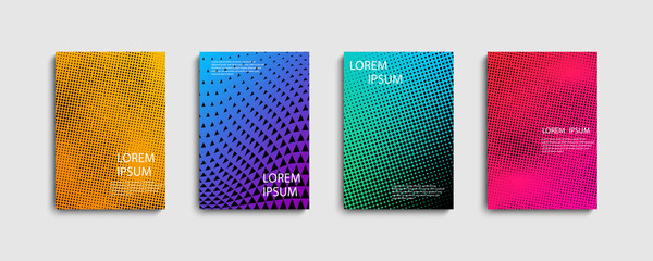 Set of trendy abstract covers with for composition background. Trendy design for posters. Futuristic design.