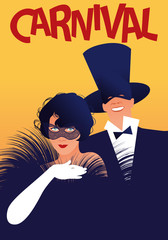 Woman with fur stole and white gloves and man in top hat wearing carnival masks. Retro style carnival poster.