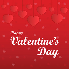 Happy valentines day. Paper cut valentines. Red background with text.