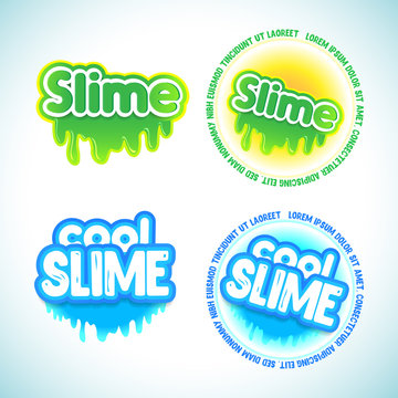 Slime logotype templates set. Liquid green and blue slime. Letters with blots, splashes and smudges. Glossy typeface. Drops slime isolated on white background
