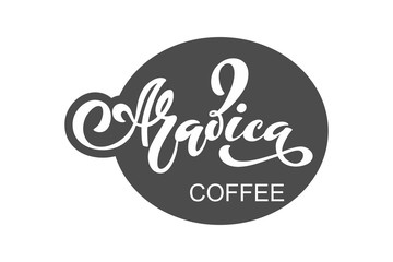 Arabica coffee logo. Vector illustration of handwritten lettering. Vector elements for packaging, coffee labels, market, cafe design, restaurant menu and store.