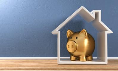 3D Illustration goldenes Sparschwein Haus