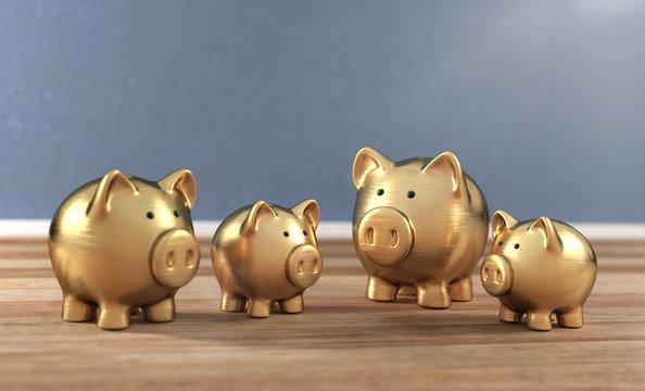 3D Illustration goldene Sparschweine