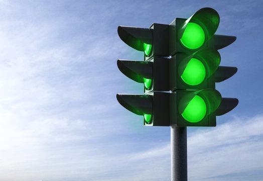 3D Illustration grüne Ampel blauer Himmel