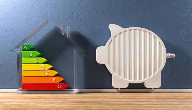 3D Illustration Heizkosten senken Energieeffizeinz