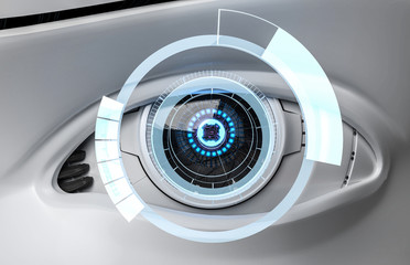 3D Illustration Roboter Auge zoom