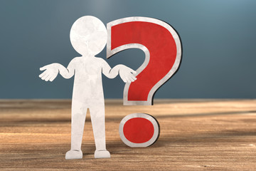 3D Illustration weißes Männchen aus Papier Fragezeichen