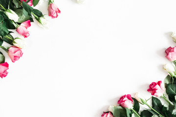 Flowers composition. Pink and white rose flowers on white background. Valentines day, mothers day, womens day concept. Flat lay, top view, copy space