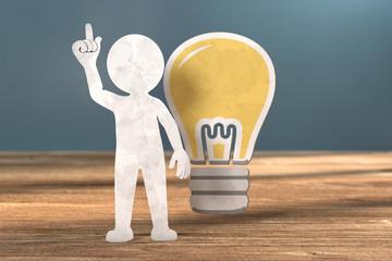 3D Illustration weißes Männchen aus Papier Idee
