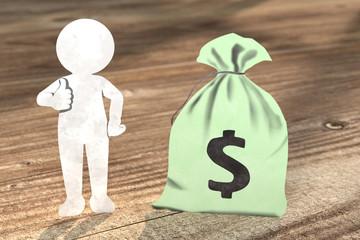 3D Illustration weißes Männchen aus Papier mit  Dollar Geldsack
