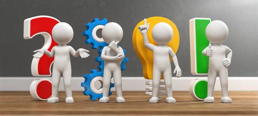 3D Illustration weißes Männchen Idee und Entwicklung bunt