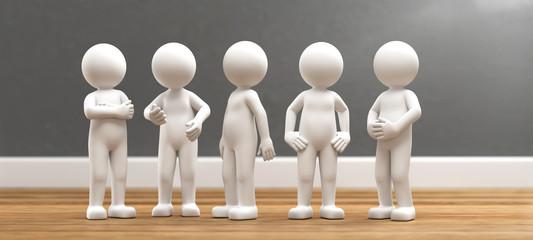 3D Illustration weißes Männchen im Gespräch