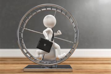 3D Illustration weißes Männchen im Hamsterrad