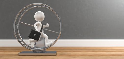 3D Illustration weißes Männchen mit Hamsterrad auf Holzboden