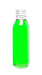 Green liquid in glass bottle