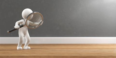 Fototapeta 3D Illustration weißes Männchen mit Lupe Suche