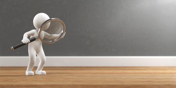3D Illustration weißes Männchen mit Lupe Suche