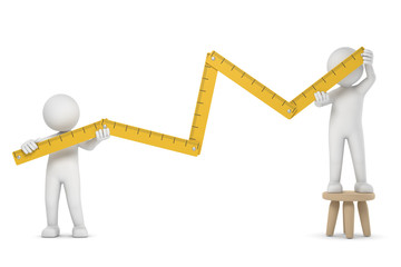 3D Illustration zwei weiße Männchen mit Meterstab