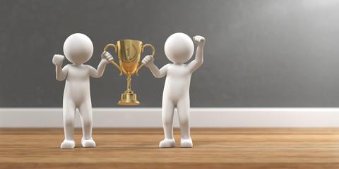 3D Illustration zwei weiße Männchen mit Pokal