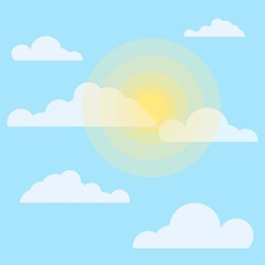The sun and cloud weather. The sun behind the clouds. sunny day