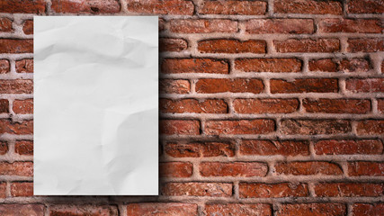 mock up crumpled paper poster frame on red vintage retro brick wall background texture for design...