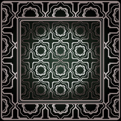 Background, Geometric Pattern With Ornate Lace Frame. Illustration. For Tablecloth, Scarf Print, Fabric, Covers, Scrapbooking, Bandana, Pareo, Shawl.
