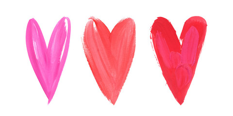 Happy Valentines Day. Beautiful Bright Watercolor Stroke Watercolor Heart Set. Concept - love and relationship, art, valentine